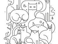 cats in all their drawing form