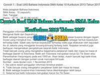 2 Contoh Soal Uas Bahasa Indonesia Sma Kelas 10 Kurikulum 2013 Tahun 2017 Terdapat Beberapa Rincian Materi Soal Untuk Di Jadik Microsoft Excel Kurikulum Bahasa