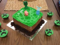 I made a Minecraft cake and Creeper cupcakes for my boys, ages 13 and 10 to celebrate both of their birthdays.  All homemade, except for the fondant used.