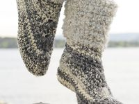 crochet boots, socks, and slippers