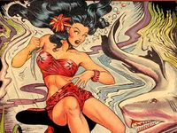 "Clarence Matthew Baker (December 10, 1921 – August 11, 1959)[1] was an American comic book artist best known for the costumed crimefighter Phantom Lady. Baker was active as early as the 1930s and '40s Golden Age of comic books. He also penciled an early form of graphic novel, St. John Publications' digest-sized ""picture novel"" It Rhymes with Lust (1950). His specialty was good girl art, a comics and cartooning sub-genre."