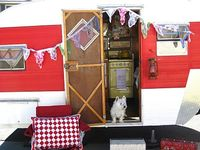 I love my littler 1957 Jewel trailer! There is nothing like GLAMPING! Sleeping in one of these little trailers is heaven! I have a feather bed too! xox