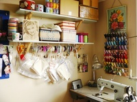 I call my space a workroom.  Its where I work and play.  I spend a lot of time in it, maybe too much!   #workroom #sewing room #atelier #studio #sewing