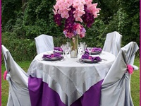 A variety of wedding, shower, party, and other event ideas in shades of purple, violet, and lavender.
