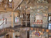 A mixture of log homes and beautiful rustic decor.