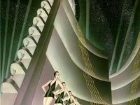 Art Deco (1920 to 1940): an eclectic style that combines traditional craft motifs with Machine Age imagery and materials, characterized by rich colors, bold geometric shapes and lavish ornamentation.  Streamline Moderne, or Art Moderne, was a late type of the Art Deco architecture and design that emerged in the 1930s. Its architectural style emphasized curving forms, long horizontal lines, and, sometimes, nautical elements.