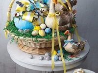 Spring and Easter decor with bunnies and baskets