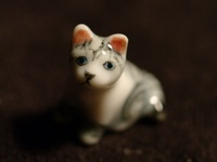 10/% Off Vintage Siamese Ceramic Glazed Cat Porcelain Kitty Drip Glaze Look Smiling Cat