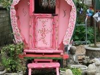 A gypsy cart (PINK) or CUTE trailer !!! parked  outside my dds house..please i need a space of my own