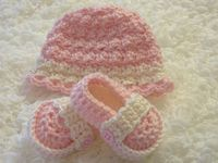 Crochet hat and bootie sets. Also hat and diaper cover sets for photo props.