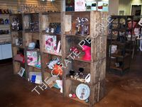 shelving for a retail store created using vintage wood crates