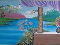 رسم منظر غروب سهل وبسيط Painting Art