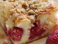 ... Raspberry coffee cakes, Cream cheese coffee cake and Peach cobblers