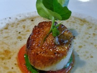 Grilled Scallops And Fettuccine With English Pea Butter Sauce Recipe ...