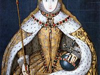 A board dedicated to celebrating the life and legacy of Queen Elizabeth I of England (1533-1603), who reigned for 44 years and is widely considered to be the most successful monarch in English history.