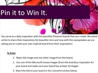 All promotions (sweepstakes, contests, giveaways) on Pinterest !