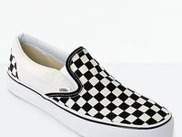 black slip ons, vans checkered, leather