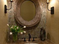 Tile around vanity mirror