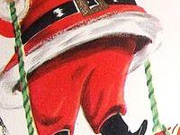 Vintage Christmas Santa and Reindeer
