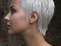 LOVE short white hair !