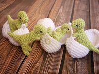 crocheted animals, dolls, and toys