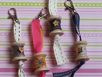 spools and fabric flowers