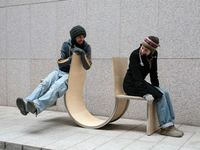 Innovation street artworks, furniture and buskers are full of fun and happiness.