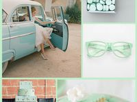Mint green is calming, playful, romantic, sweet, airy, light, chic, pretty, and whimsical. Mint works well alone, with neutrals, peaches, pinks, lavender, turquoise, navy, brown, black and red.  It works for spring and summer weddings, indoor, outdoor, traditional, rustic, retro and vintage weddings.   Mint, sea green, seafoam, spring green, light aqua, grayed jade, light turquoise green, aquamarine,  mint cream, celadon, caribbean green, pastel green, cambridge blue, caribbean green, teal.