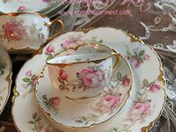 China patterns, teapots, cups and saucers