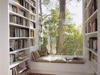cantinhos de leitura e estantes...