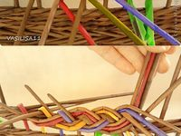 Плетение из газетной лозы / плетение из газетных трубочек