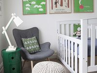 Poufs, puffs, footrests and ottomans. Focus on knitted and crocheted poufs for the nursery.