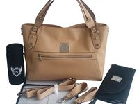 Cydney Baby Changing Handbag / Our Cydney bag is made from high quality light tan leather and even has zips at the sides to help expand the space in the bag. Just £129.00!