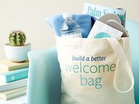 Ideas for wedding welcome bags to give to out-of-town guests. Such a fun & great thing to show your loved ones how happy you are that they are traveling to share in your special day.