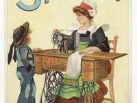 Old fashioned sewing pictures, old advertisements for sewing items, vintage items, from a simpler time.