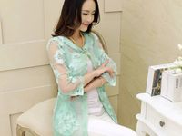 Fashion woman embroidered gauze cardigan jacket coat Mint Green color