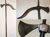 Modern reproduction Indian Zaghnal Axe with carvings medieval Indian Weapon