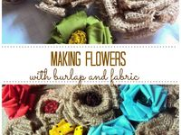 Fabric and paper flowers, leaves, and hearts