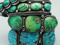 Turquoise stones are any shade between blue and green.