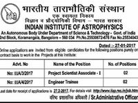 Indian Institute Of Astrophysics Iia Bangalore Invites O