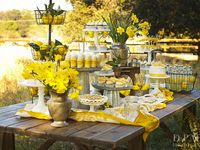 From weddings to parties to dinners -- yellow themed events of all kinds.