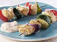 ... | Veggie skewers, Grilled chicken kabobs and Lemon garlic shrimp
