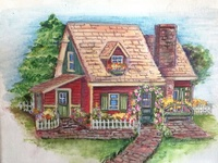 Paintings of cottages, small to large, city and country, inside and out, gardens.
