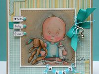 Paper crafting items using Mo Manning's baby stamps and digital images.