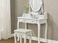 Toaletka Kosmetyczna Taboret Rozyczki Biala 7056778382 Oficjalne Archiwum Allegro Furniture Lounge Furniture Layout Dressing Table Set