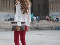 Red pant outfits