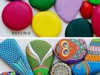 ROCKin'  the crafts / Rock art, pebble art, Burden Stones, etc.