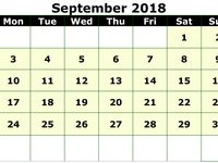 Monthly September 2018 Blank Calendar Pdf Free Printable