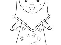 46 Mewarnai Gambar Baju Anak Muslim Paling Populer Lingkar Png