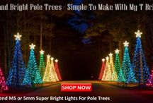 Decorating tipi poles with Christmas lights